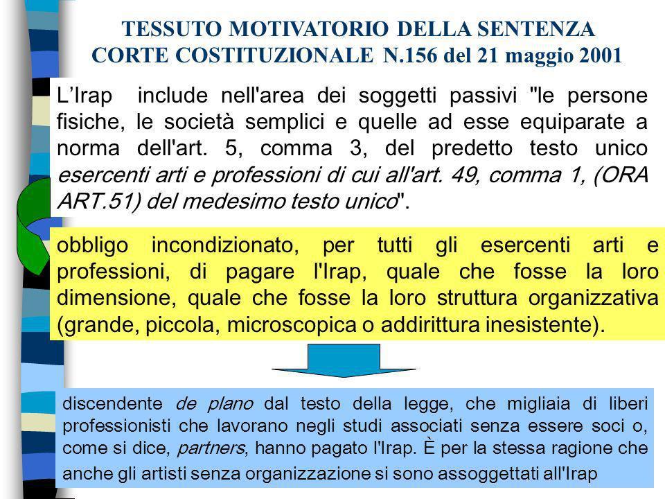 TESSUTO MOTIVATORIO DELLA SENTENZA CORTE COSTITUZIONALE N