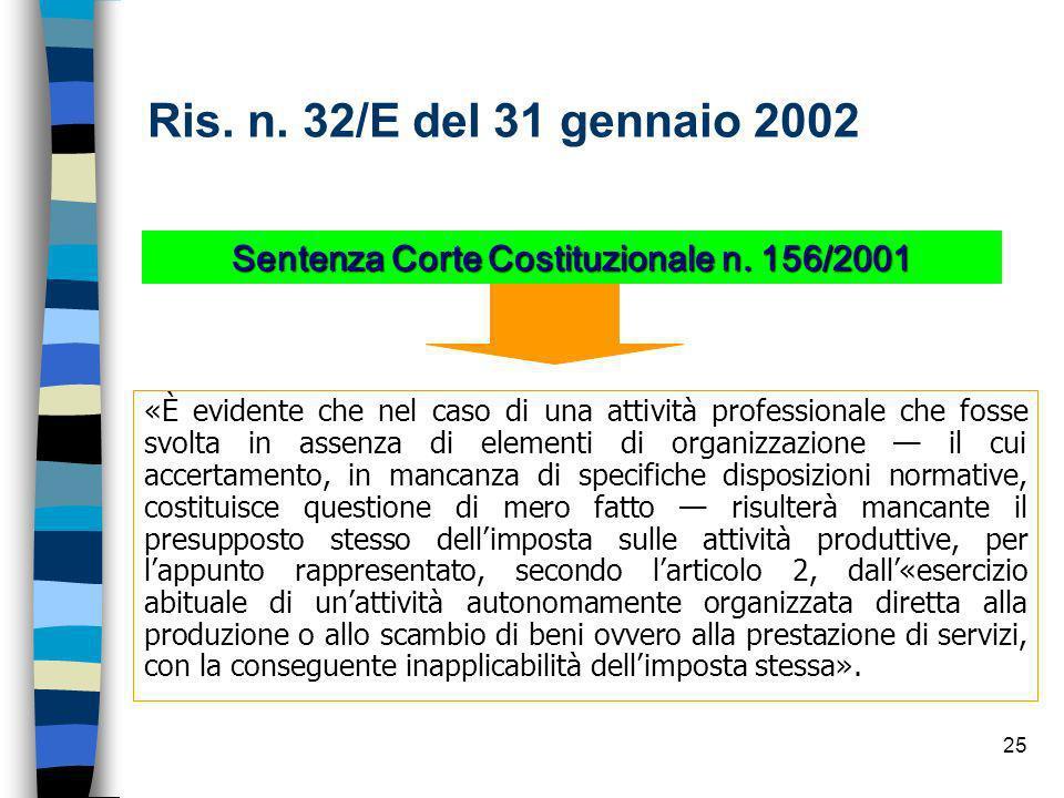Sentenza Corte Costituzionale n. 156/2001