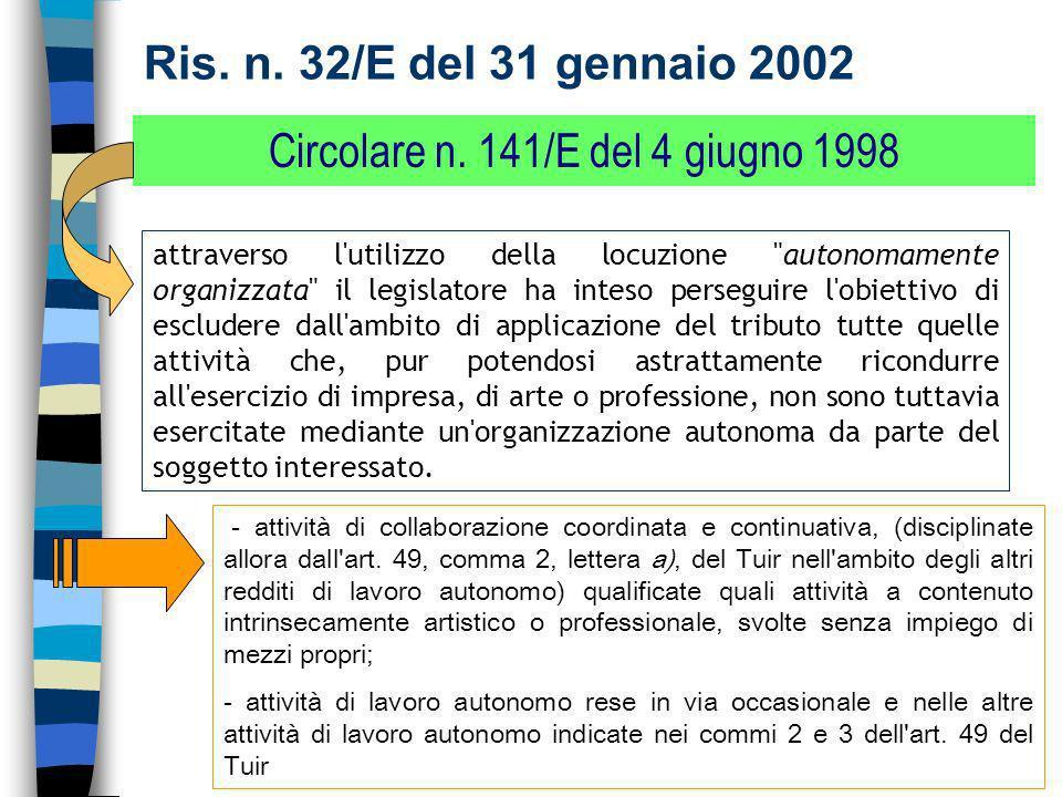 Circolare n. 141/E del 4 giugno 1998