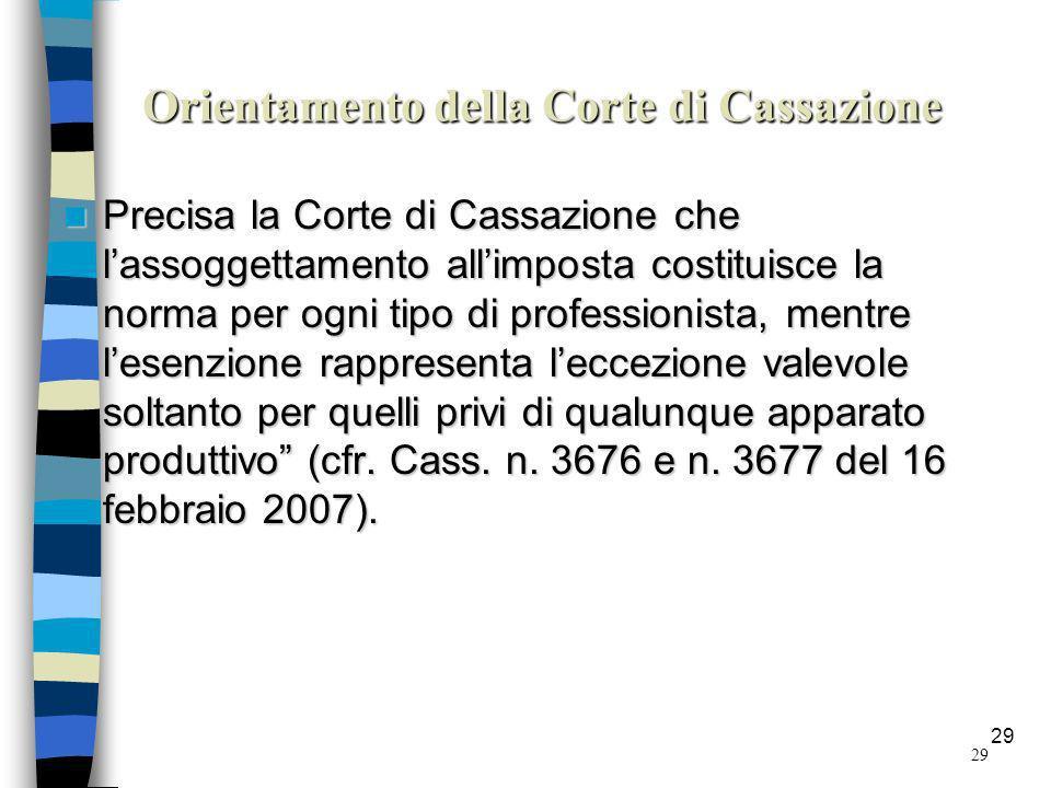 Orientamento della Corte di Cassazione