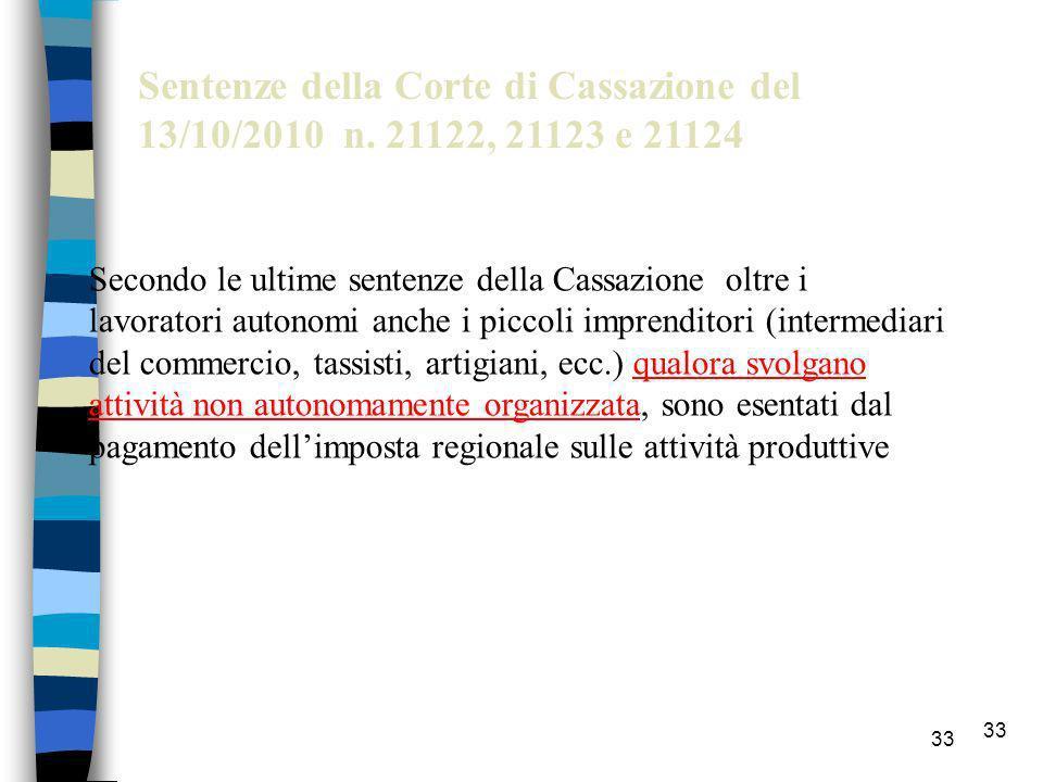 Sentenze della Corte di Cassazione del 13/10/2010 n