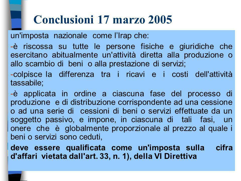 Conclusioni 17 marzo 2005 un imposta nazionale come l'Irap che: