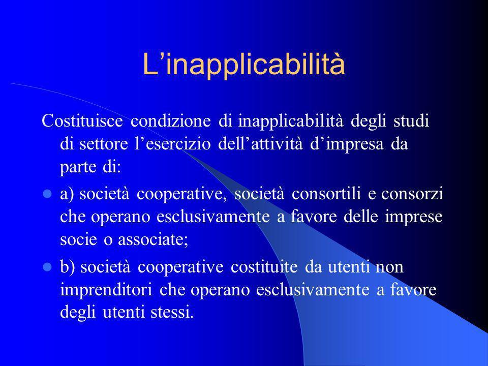 L'inapplicabilitàCostituisce condizione di inapplicabilità degli studi di settore l'esercizio dell'attività d'impresa da parte di: