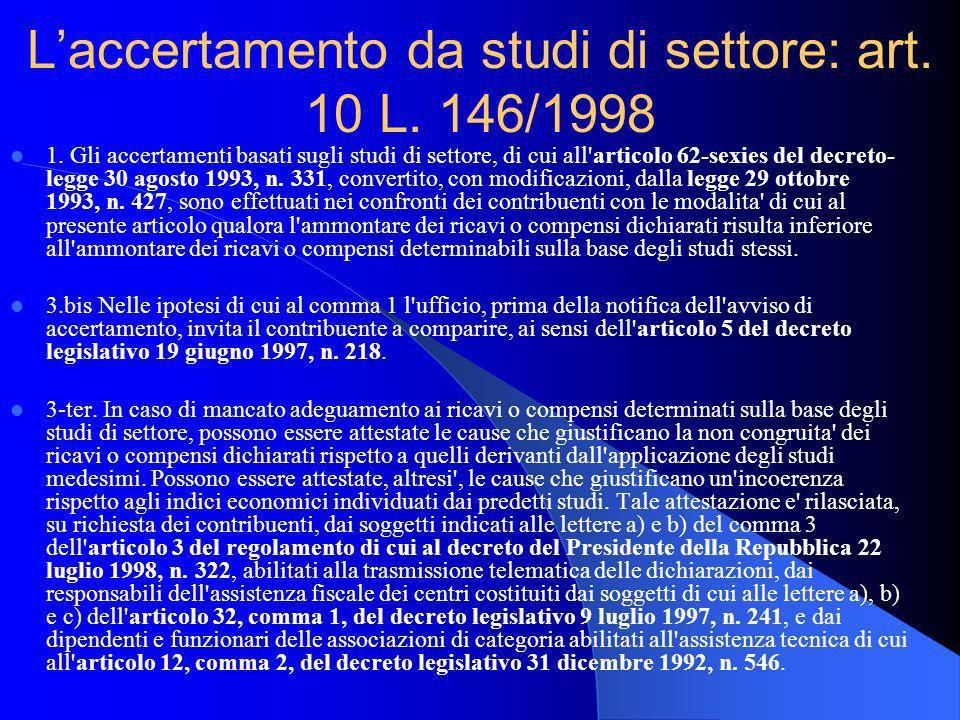 L'accertamento da studi di settore: art. 10 L. 146/1998
