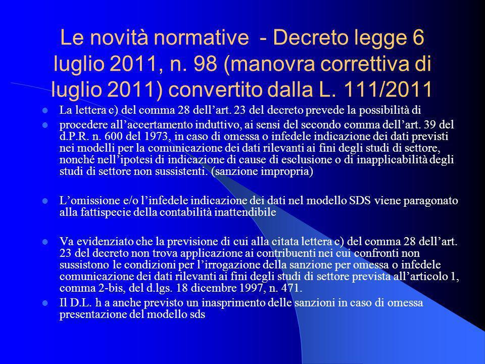 Le novità normative - Decreto legge 6 luglio 2011, n