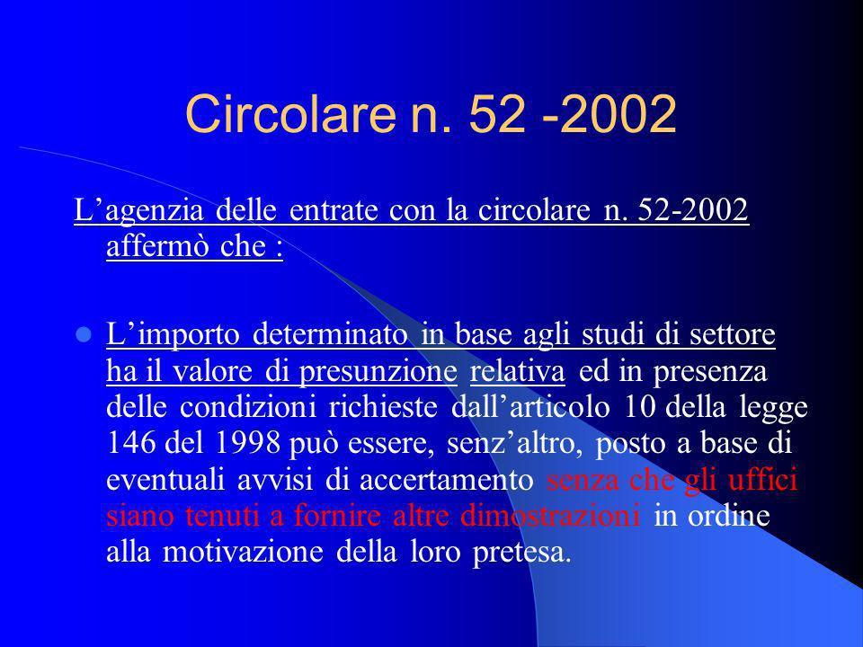 Circolare n. 52 -2002 L'agenzia delle entrate con la circolare n. 52-2002 affermò che :