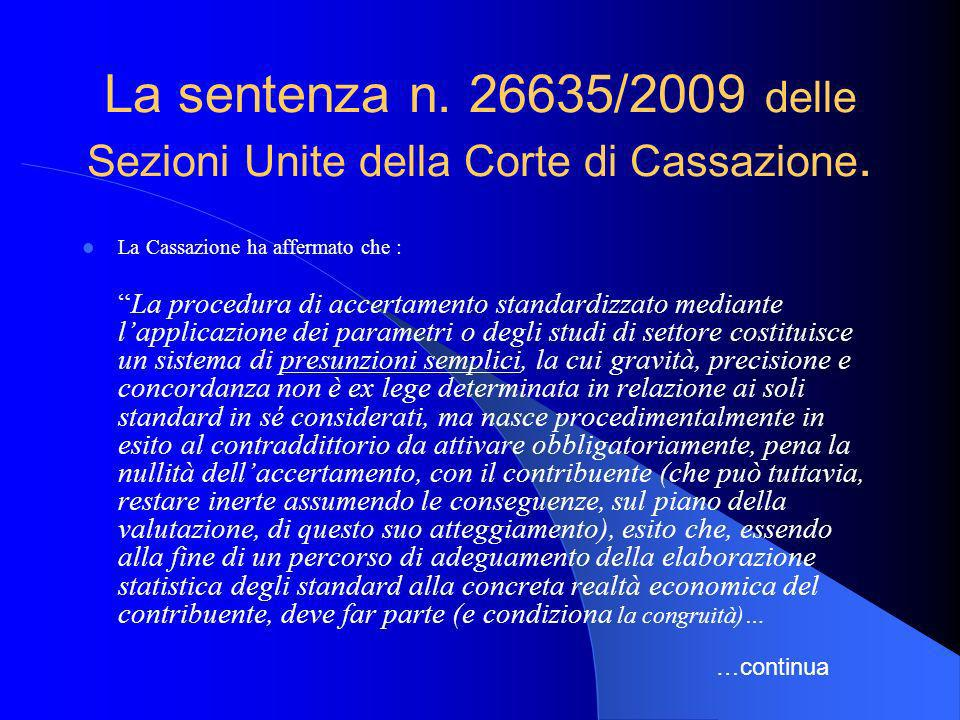 La sentenza n. 26635/2009 delle Sezioni Unite della Corte di Cassazione.