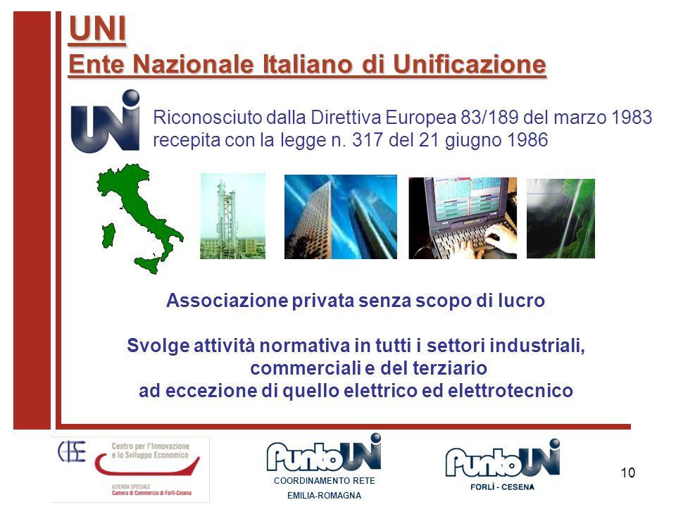 UNI Ente Nazionale Italiano di Unificazione