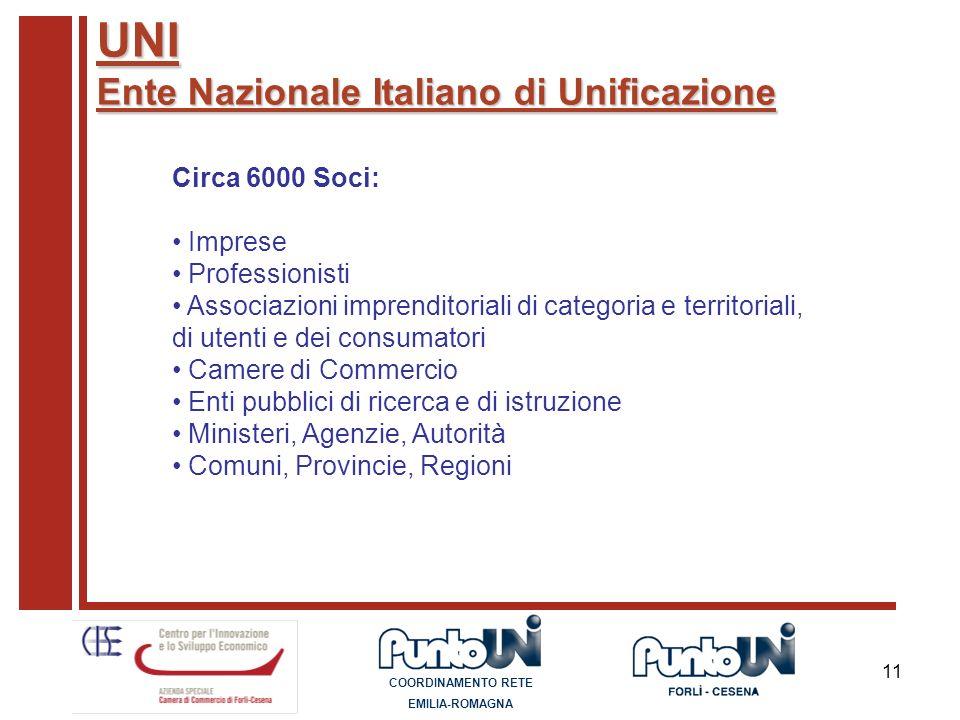 UNI Ente Nazionale Italiano di Unificazione Circa 6000 Soci: Imprese
