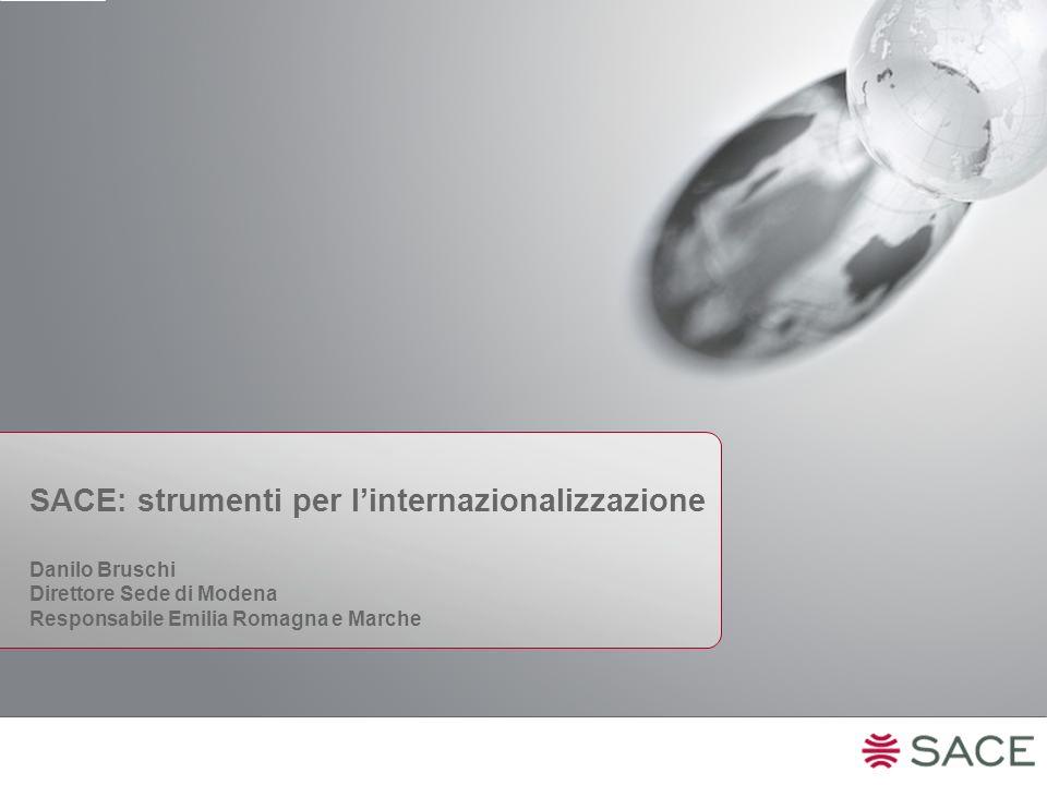 SACE: strumenti per l'internazionalizzazione Danilo Bruschi Direttore Sede di Modena Responsabile Emilia Romagna e Marche