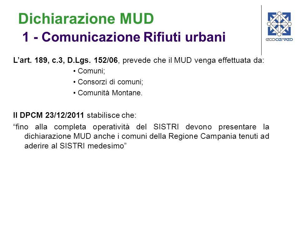 Dichiarazione MUD 1 - Comunicazione Rifiuti urbani