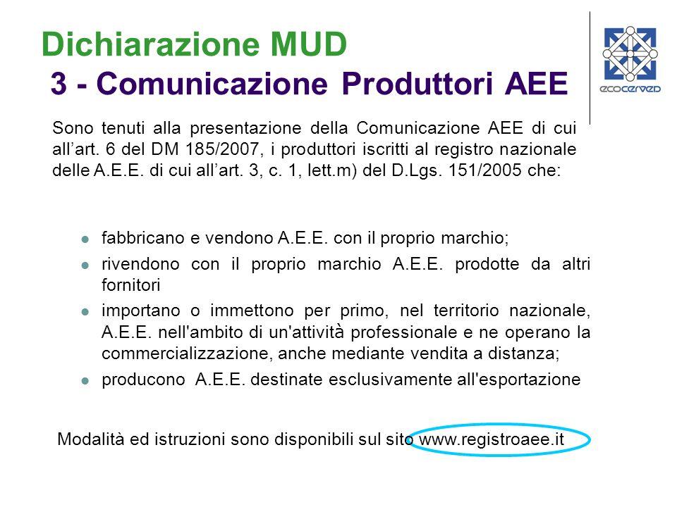 Dichiarazione MUD 3 - Comunicazione Produttori AEE