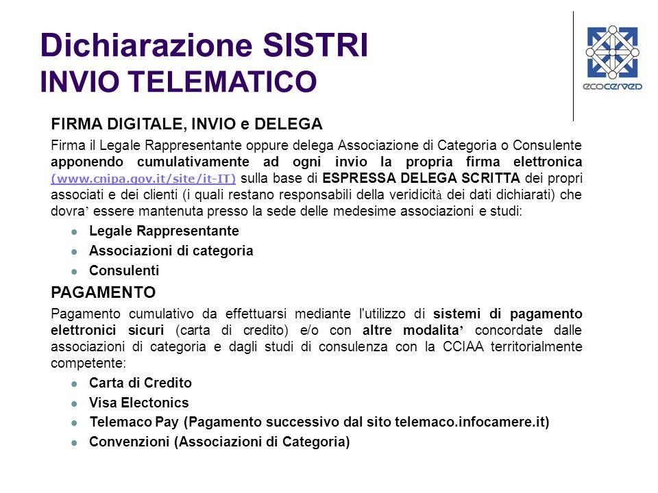 Dichiarazione SISTRI INVIO TELEMATICO