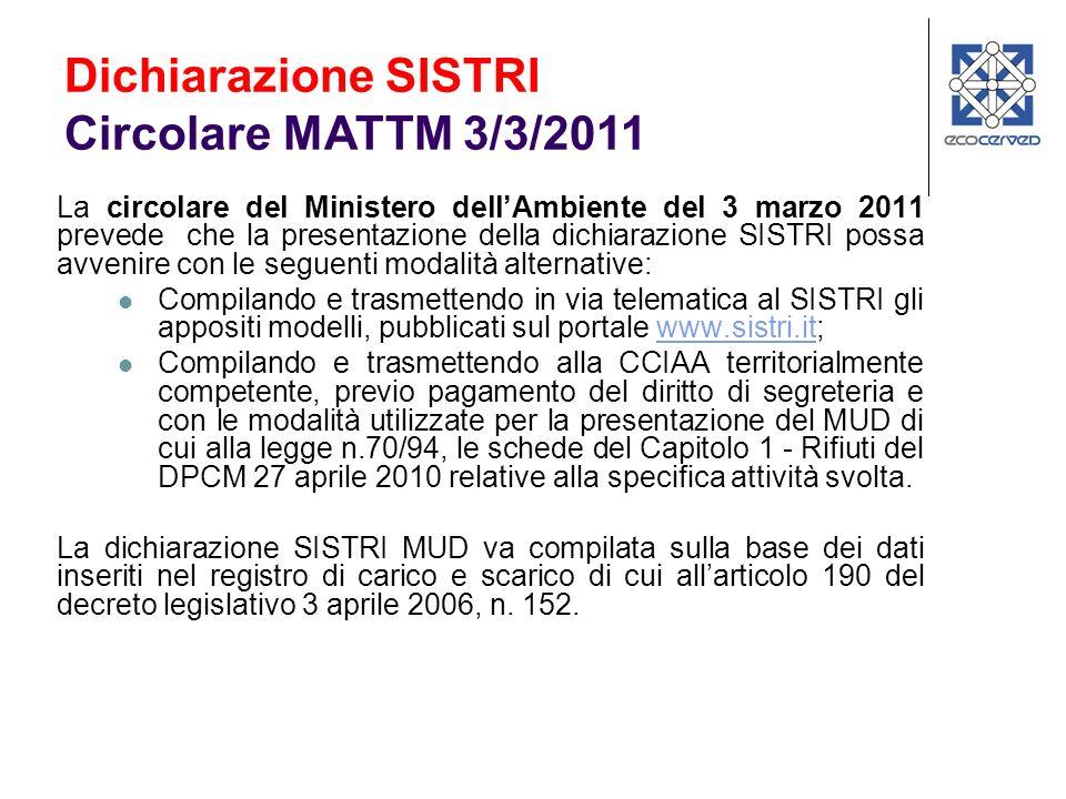 Dichiarazione SISTRI Circolare MATTM 3/3/2011