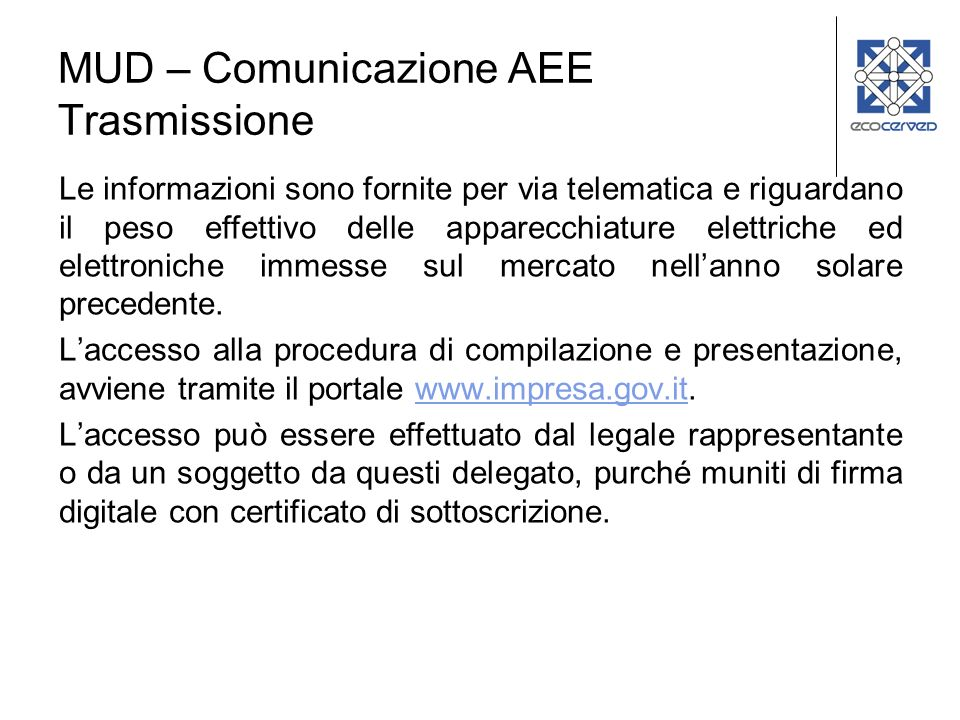 MUD – Comunicazione AEE Trasmissione