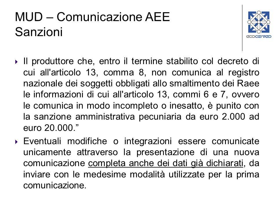 MUD – Comunicazione AEE Sanzioni