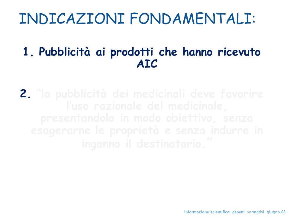 1. Pubblicità ai prodotti che hanno ricevuto AIC