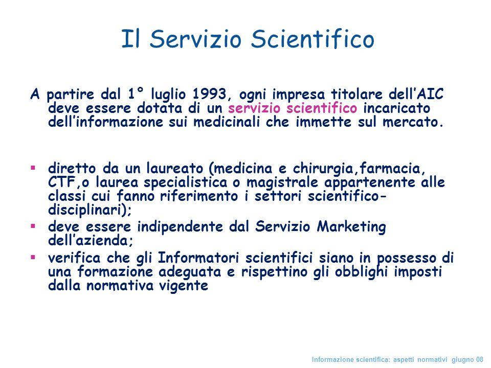 Il Servizio Scientifico