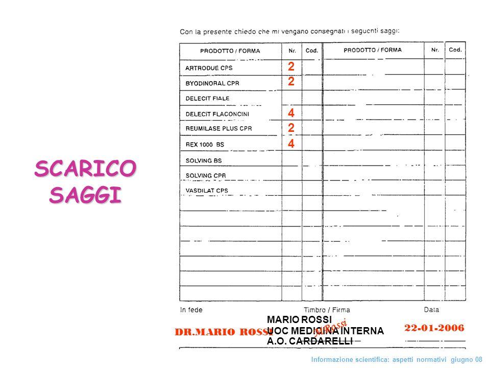 SCARICO SAGGI 22 42 4 MRossi 22-01-2006 DR.MARIO ROSSI MARIO ROSSI