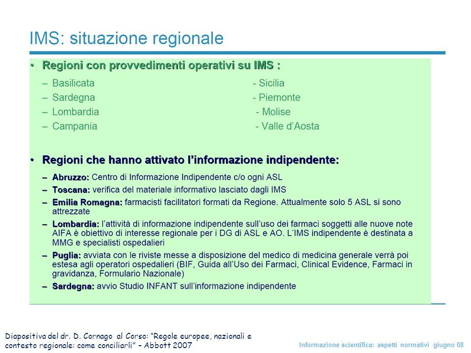 Diapositiva del dr. D. Cornago al Corso: Regole europee, nazionali e contesto regionale: come conciliarli – Abbott 2007