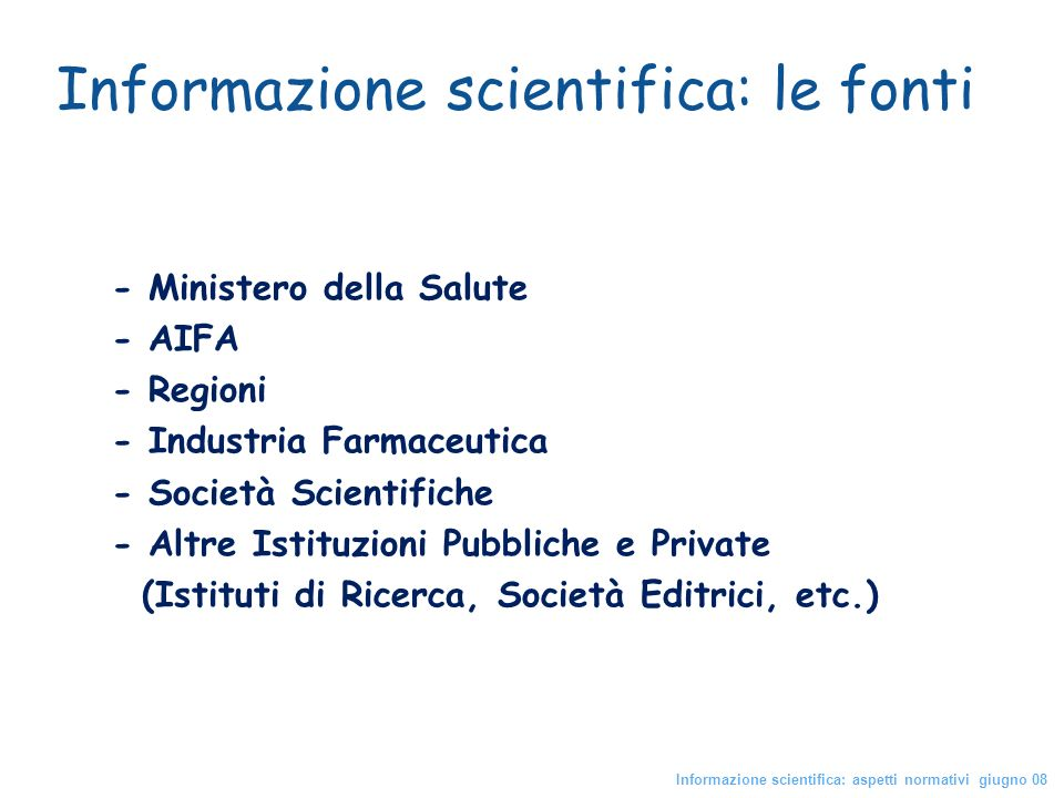 Informazione scientifica: le fonti