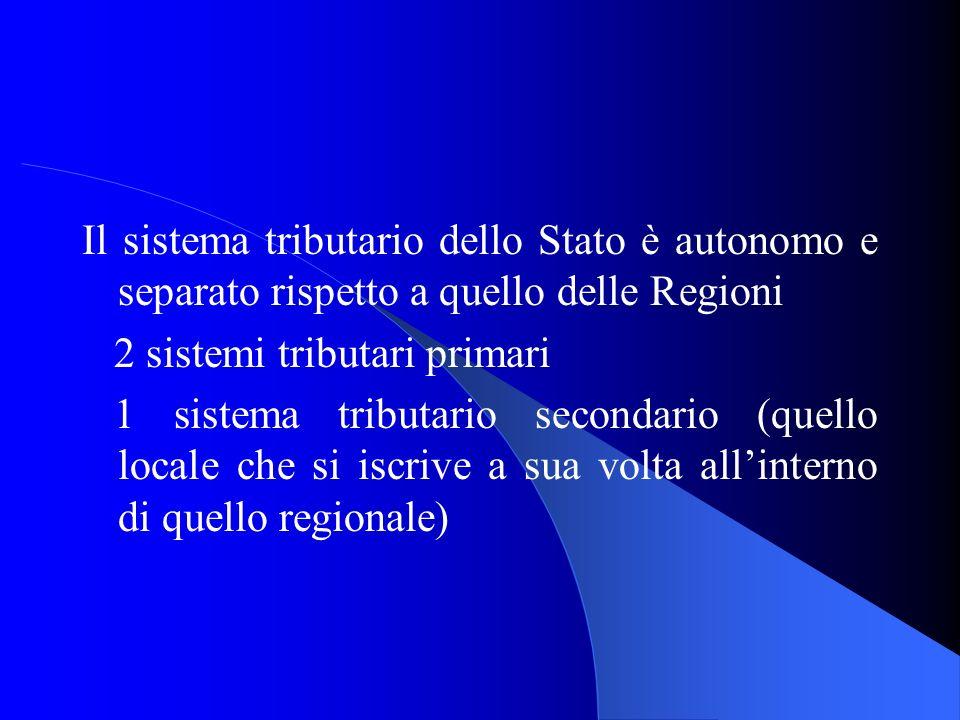 Il sistema tributario dello Stato è autonomo e separato rispetto a quello delle Regioni