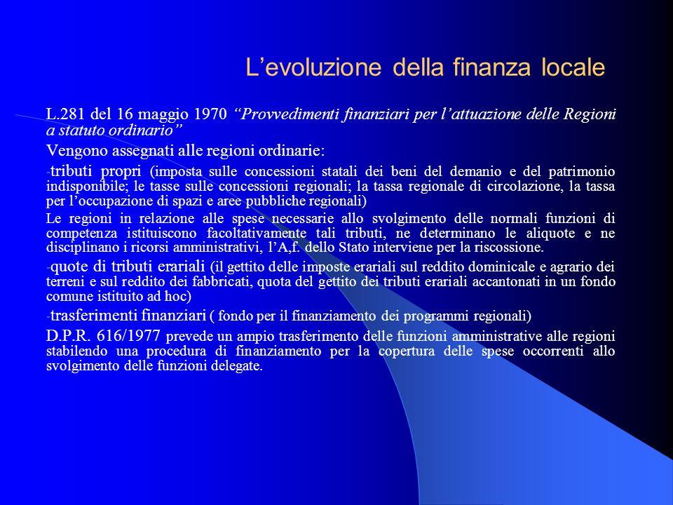 L'evoluzione della finanza locale