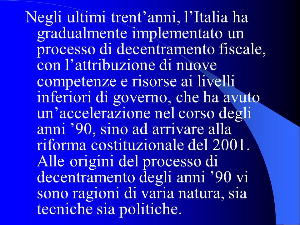 Negli ultimi trent'anni, l'Italia ha gradualmente implementato un processo di decentramento fiscale, con l'attribuzione di nuove competenze e risorse ai livelli inferiori di governo, che ha avuto un'accelerazione nel corso degli anni '90, sino ad arrivare alla riforma costituzionale del 2001.