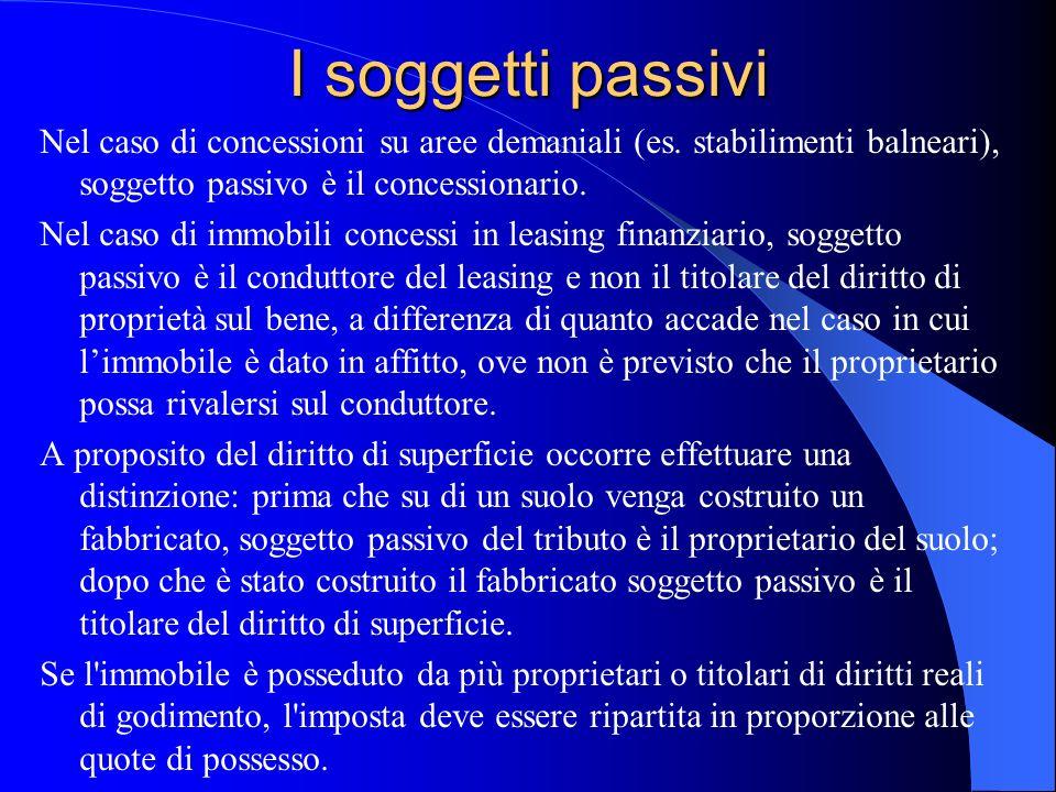I soggetti passivi Nel caso di concessioni su aree demaniali (es. stabilimenti balneari), soggetto passivo è il concessionario.