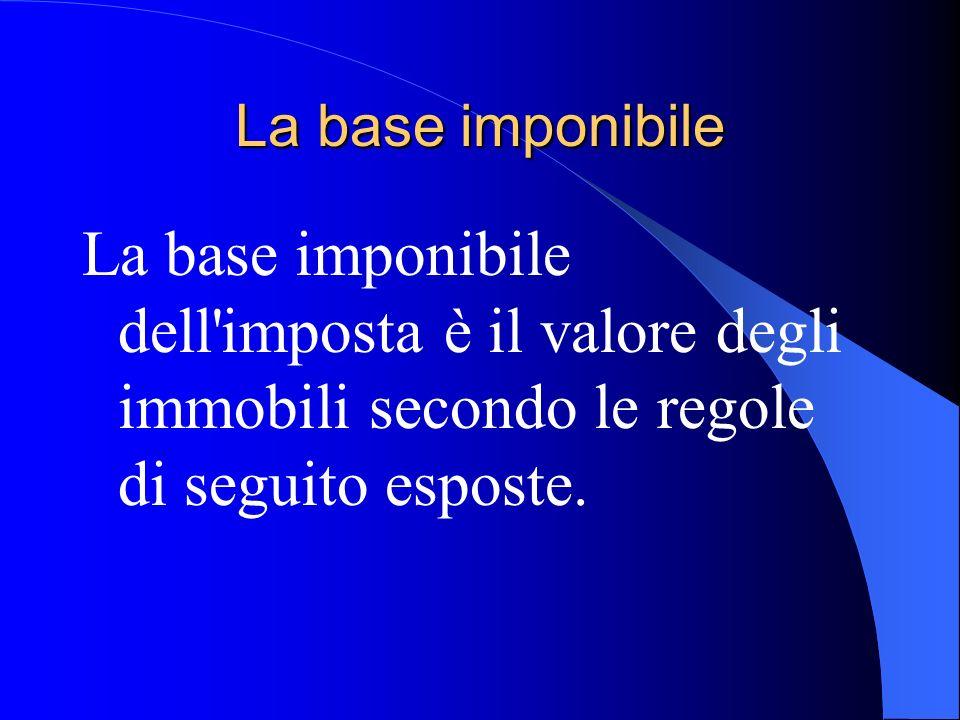 La base imponibile La base imponibile dell imposta è il valore degli immobili secondo le regole di seguito esposte.