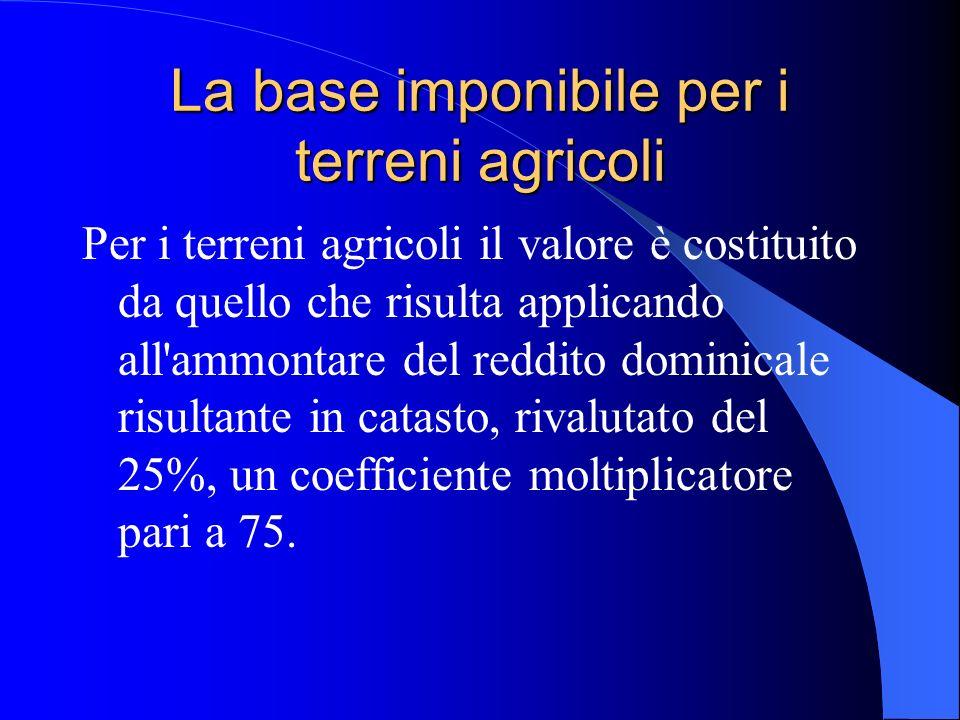 La base imponibile per i terreni agricoli
