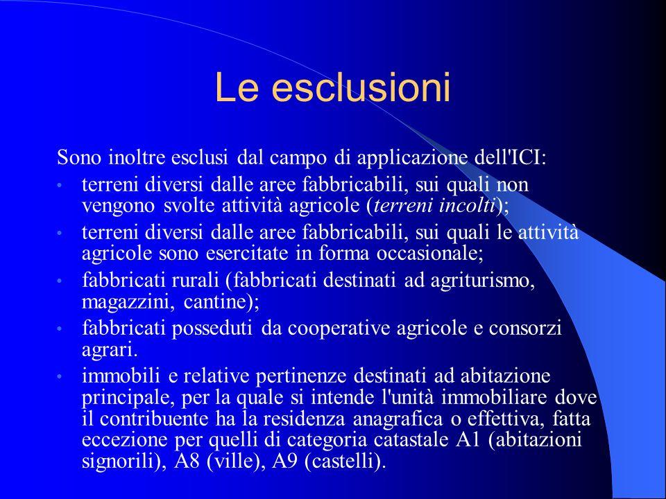 Le esclusioni Sono inoltre esclusi dal campo di applicazione dell ICI: