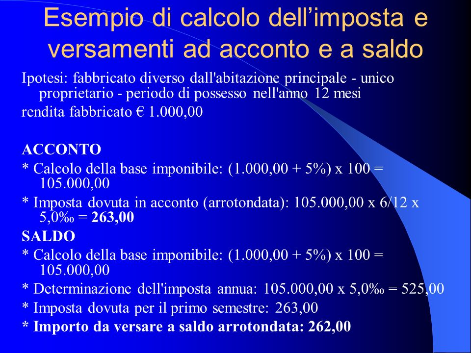 Esempio di calcolo dell'imposta e versamenti ad acconto e a saldo