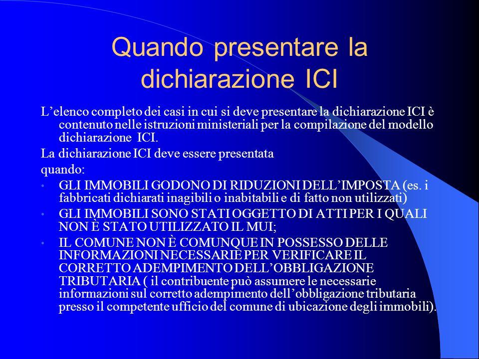 Quando presentare la dichiarazione ICI