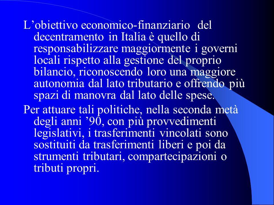 L'obiettivo economico-finanziario del decentramento in Italia è quello di responsabilizzare maggiormente i governi locali rispetto alla gestione del proprio bilancio, riconoscendo loro una maggiore autonomia dal lato tributario e offrendo più spazi di manovra dal lato delle spese.