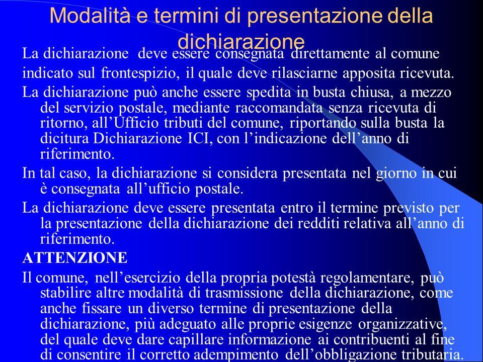 Modalità e termini di presentazione della dichiarazione
