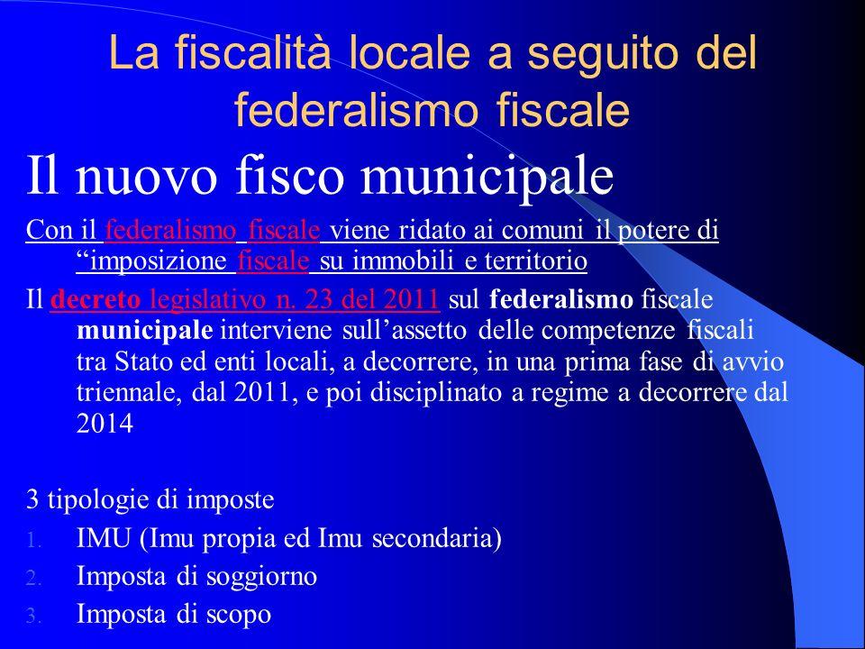 La fiscalità locale a seguito del federalismo fiscale