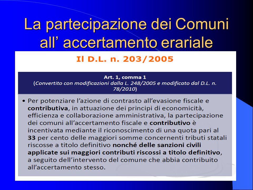 La partecipazione dei Comuni all' accertamento erariale