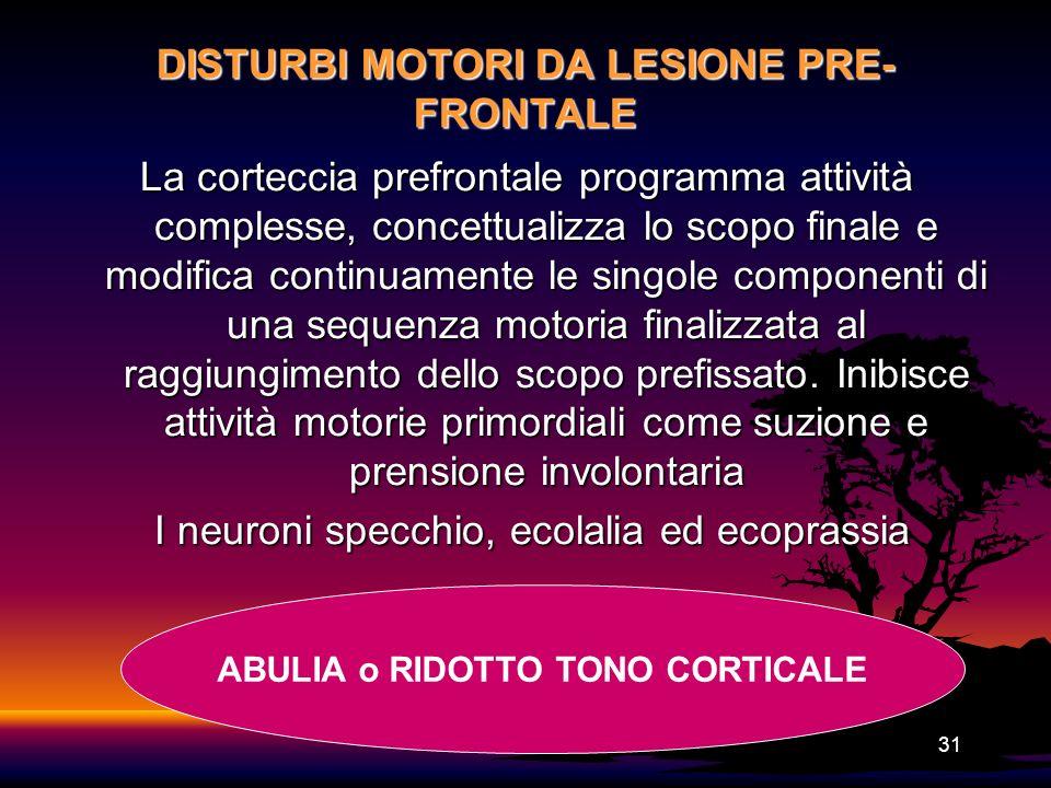 DISTURBI MOTORI DA LESIONE PRE-FRONTALE