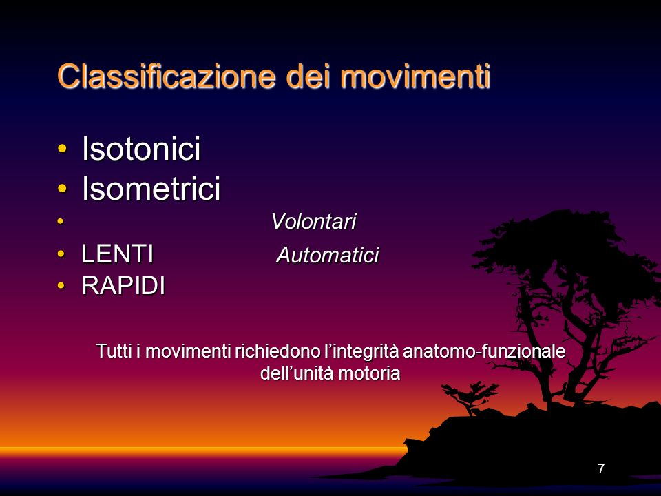 Classificazione dei movimenti