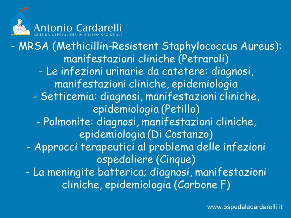 - MRSA (Methicillin-Resistent Staphylococcus Aureus): manifestazioni cliniche (Petraroli)
