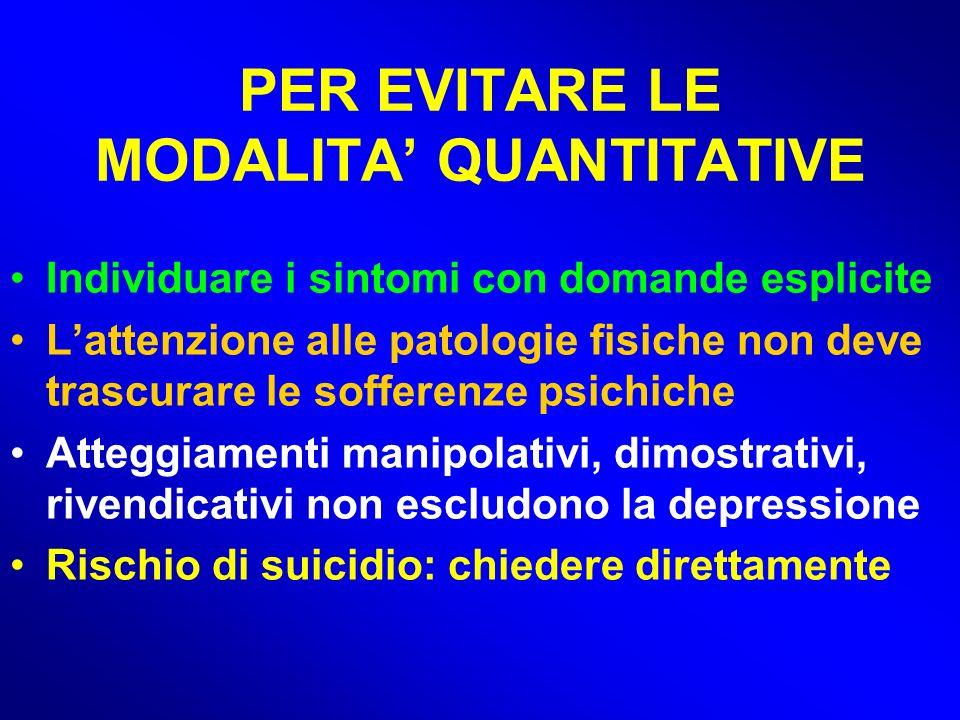 PER EVITARE LE MODALITA' QUANTITATIVE