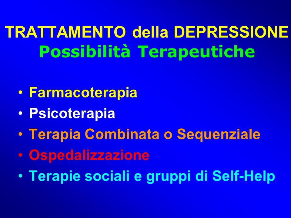 TRATTAMENTO della DEPRESSIONE Possibilità Terapeutiche