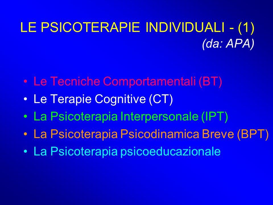 LE PSICOTERAPIE INDIVIDUALI - (1) (da: APA)