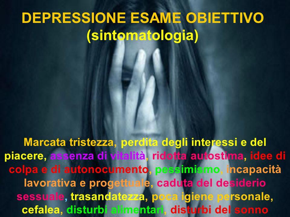 DEPRESSIONE ESAME OBIETTIVO (sintomatologia)