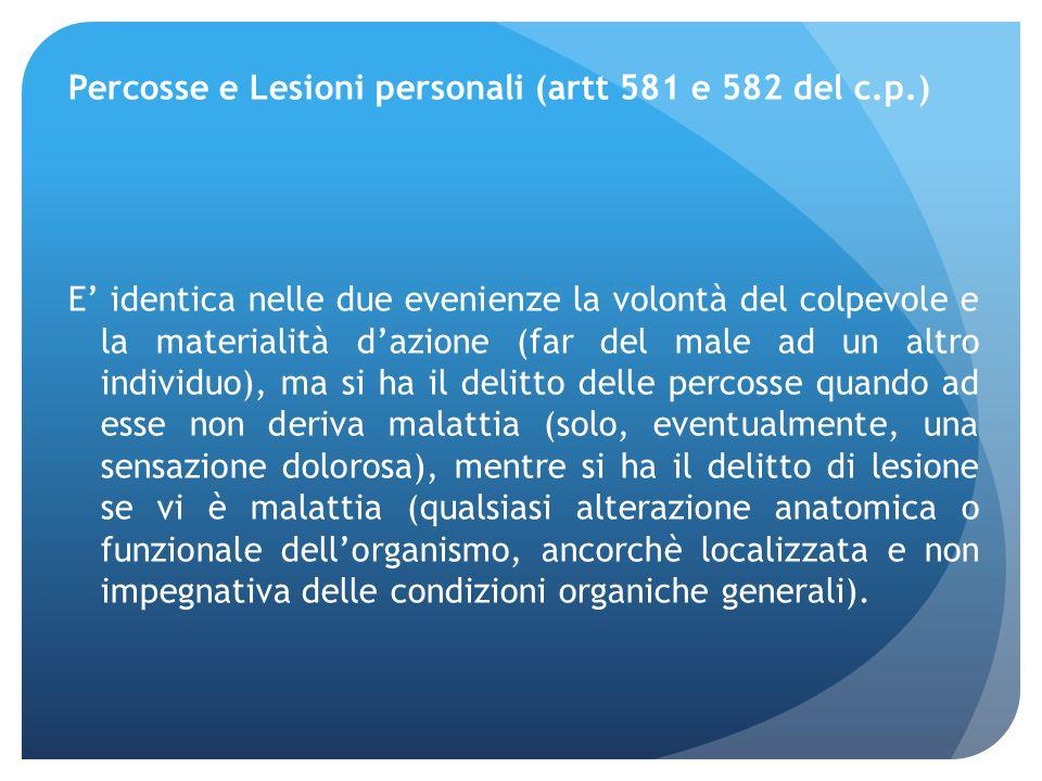 Percosse e Lesioni personali (artt 581 e 582 del c. p