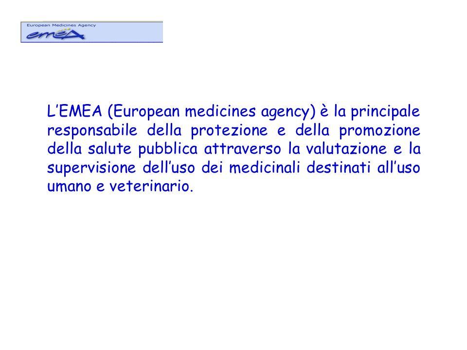 L'EMEA (European medicines agency) è la principale responsabile della protezione e della promozione della salute pubblica attraverso la valutazione e la supervisione dell'uso dei medicinali destinati all'uso umano e veterinario.