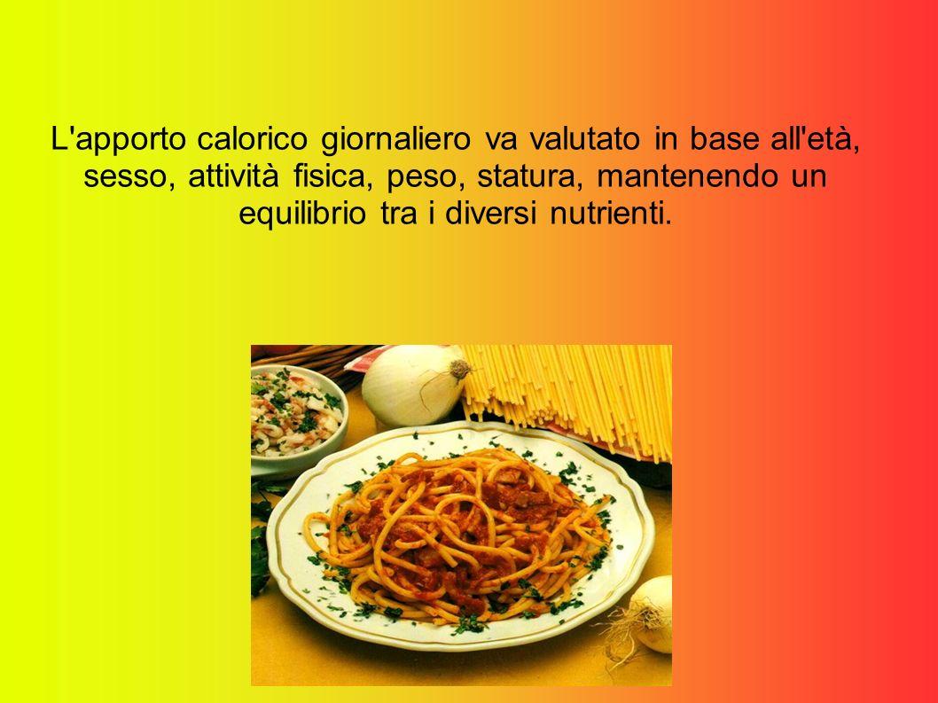L apporto calorico giornaliero va valutato in base all età, sesso, attività fisica, peso, statura, mantenendo un equilibrio tra i diversi nutrienti.