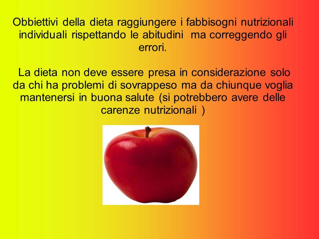 Obbiettivi della dieta raggiungere i fabbisogni nutrizionali individuali rispettando le abitudini ma correggendo gli errori.