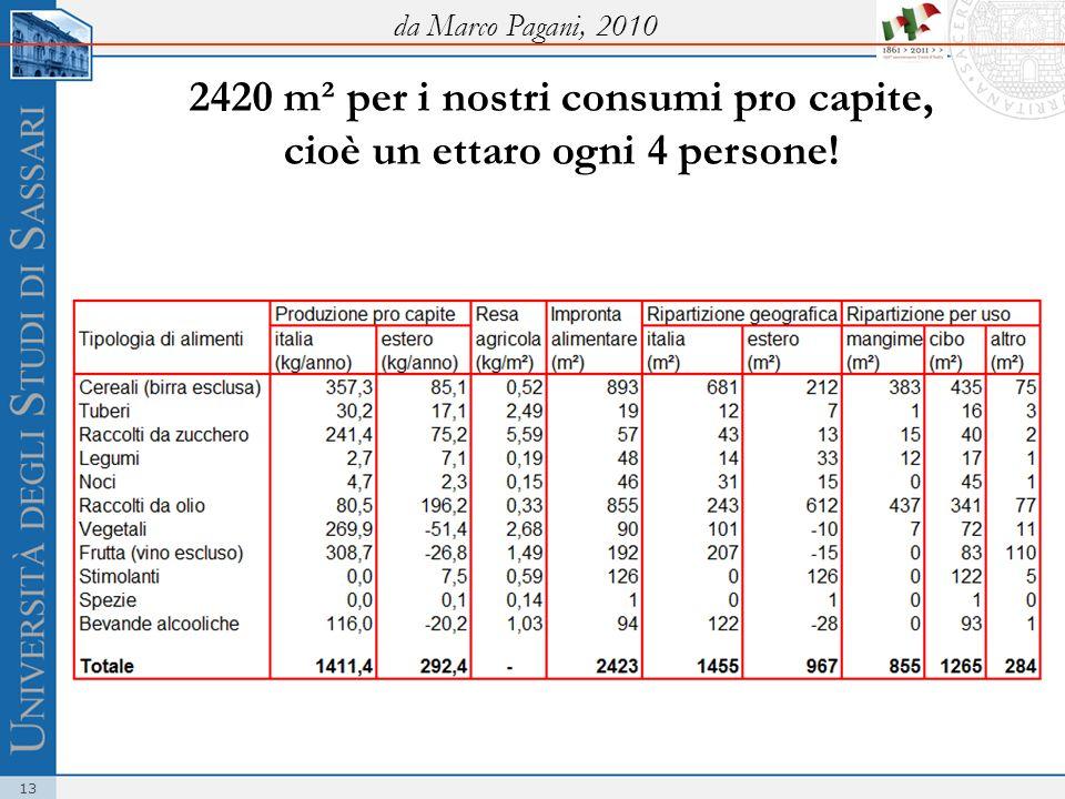da Marco Pagani, 2010 2420 m² per i nostri consumi pro capite, cioè un ettaro ogni 4 persone!